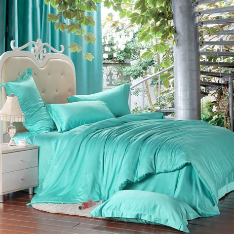 Turquoise King Bedding Sets Luxury Solid Turquoise Blue Green Comforters Bedding Set King Size Duvet Cover Quilt Bed