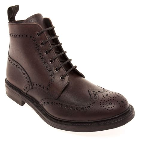 loake bedale s boots in brown grain calf leather by