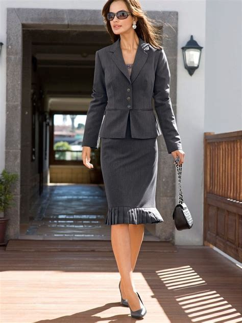 black skirt suit and high heels womens comtemporary