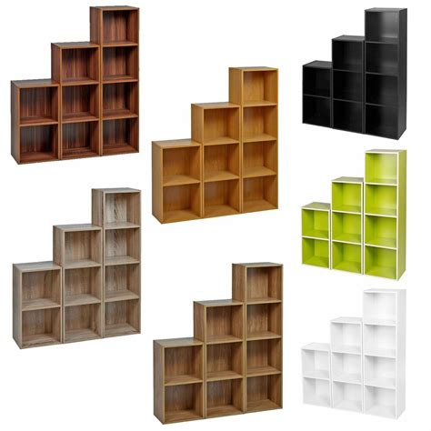 Wood Cube Shelf by 2 3 4 Tier Wooden Bookcase Shelving Display Shelves