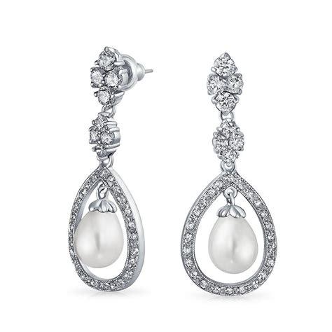 Teardrop Chandelier Bridal Earrings Bridal Pearl Pave Cz Silver Teardrop Chandelier Earrings