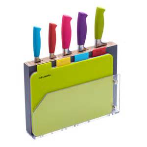 Kitchen Knives Set Reviews Multi Coloured Knife Block Amp Chopping Boards Set Unique