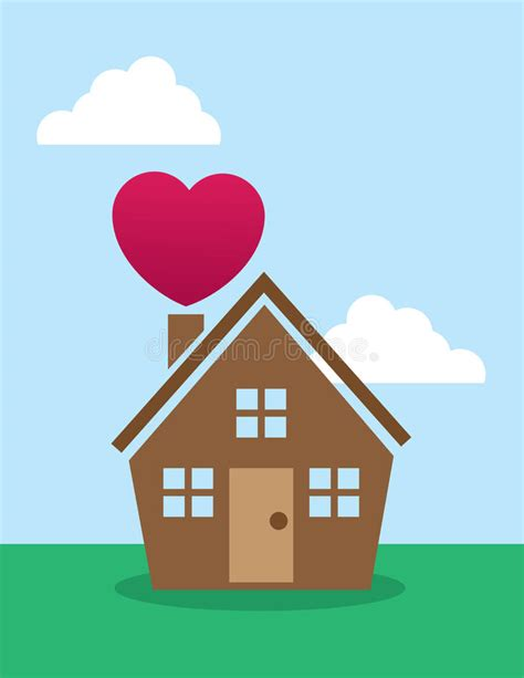 house with a heart house heart chimney stock vector image 41624338