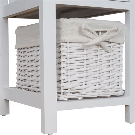 Wicker Organizer With Drawers by Shabby Chic Wooden White Bedside Cabinet Units Table