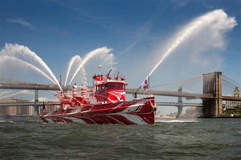 fireboat john j harvey ship photos historic nyc fireboat john j harvey gets