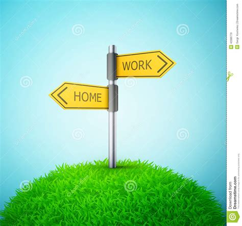 direction road sign with home and work words on the grass