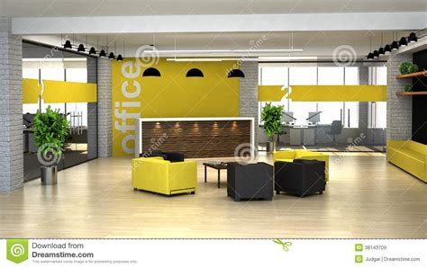 Contemporary Open Floor Plans 3d rendering an interior of the office hall with