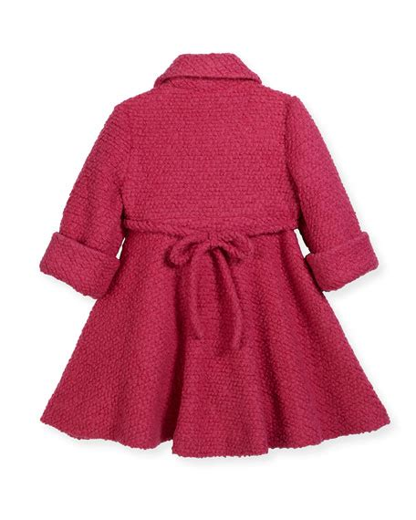 boucle swing coat helena wool blend boucle swing coat fuchsia size 7 14
