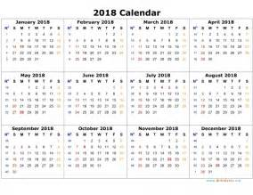 yearly calendar 2018 calendar printable template