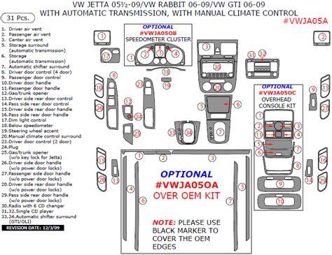online auto repair manual 2006 volkswagen rabbit instrument cluster 2006 2009 vw gti jetta rabbit main dash trim kit w auto trans w manual climate control
