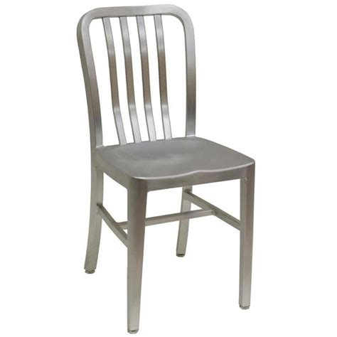 American Chair by American Tables Seating 57 Armless Slat Back Aluminum Chair
