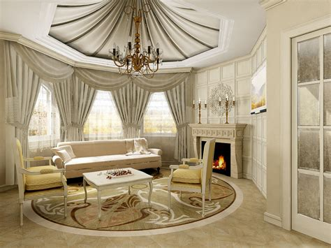 Fancy Living Room Curtains Luxury Colorful Classic Living Room Curtain Ceiling Chandelier Sofa Fireplace