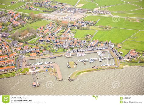 marken netherlands map view at harbor of historic island of marken stock photo