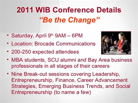 1 Year Mba Programs Bay Area by Wib Conference Sponsorship Opportunities