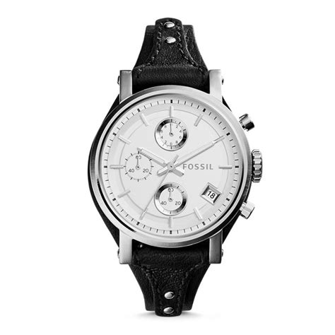 Fossil Bf Black Es3817 Black Leather Jam Fossil Original original boyfriend chronograph black leather fossil