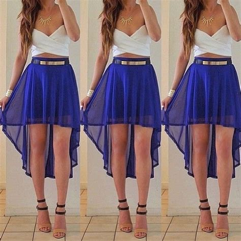 white and blue high low skirt with a crop top