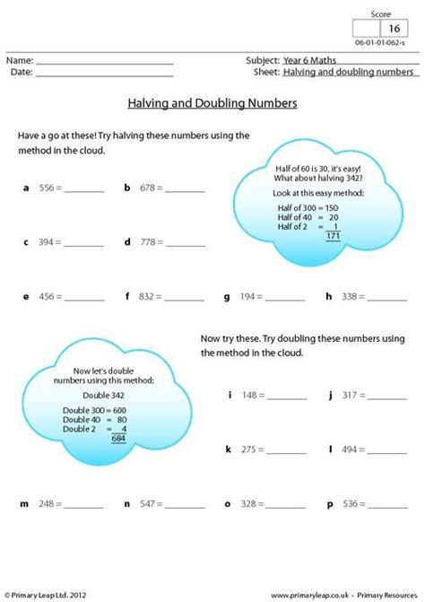 printable worksheets for halving numbers primaryleap co uk halving and doubling numbers worksheet