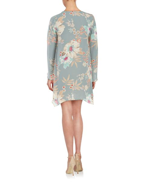 design lab floral dress lord taylor floral shift dress in blue lyst