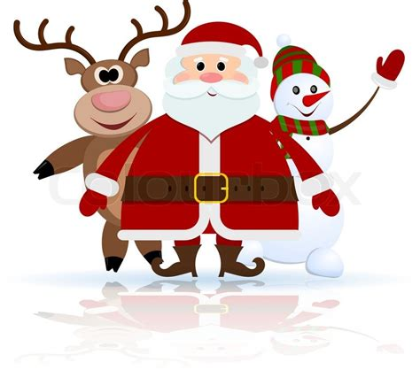 snowman and reindeer santa claus reindeer and snowman on stock vector