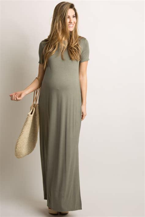 Basic Line Maxi Dress black basic side slit maternity maxi dress