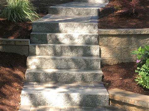 Backyard Landscape Design granite steps amp walkway landscape company hanson ma