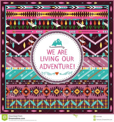 tribal pattern with quotes hipster seamless tribal pattern with geometric elements