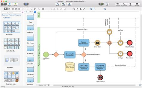 business process diagram visio creating visio business process diagram conceptdraw helpdesk