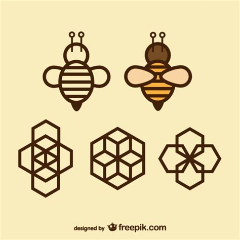 honey bee icon geometry icons bee and honeycomb vector free download