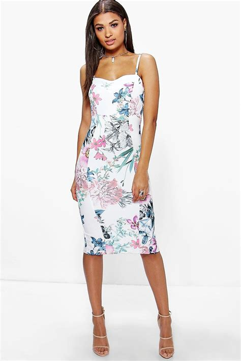 Dress Midi Flower isla strappy floral midi dress at boohoo