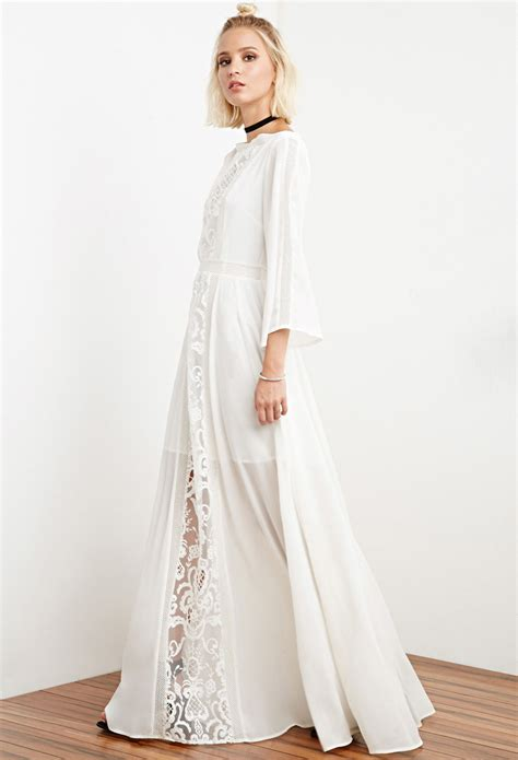 White Flower Crochet Dress lyst forever 21 the allflower crochet chiffon maxi dress