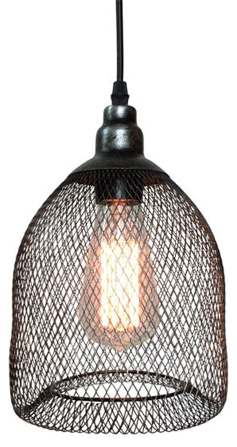 mesh lights pendant l with metal mesh and wire shade industrial