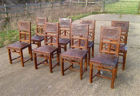 Vintage Oak Dining Chairs Antique Furniture Warehouse Antique Oak Dining Chairs Set Of Eight Oak And Leather