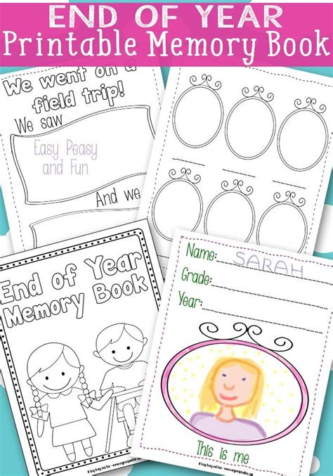 kindergarten activities end of the year end of year memory book free printable easy peasy free