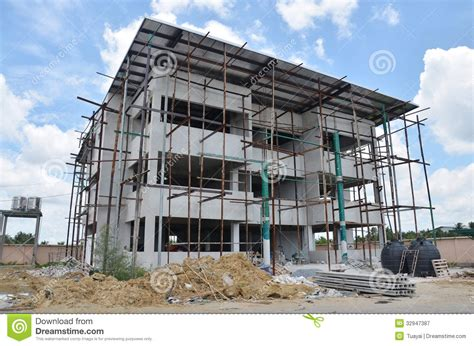 small house construction building office construction at thailand stock image