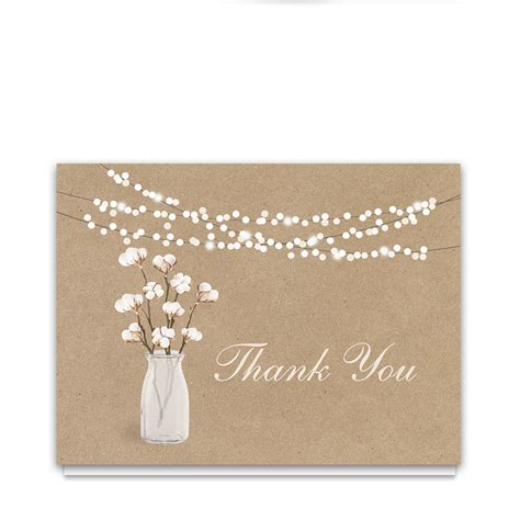 rustic cotton theme thank you card kraft paper