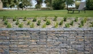 Sloped Backyard Retaining Wall Schist Stone Gabions Otago Schist Walls Fences And Supplies