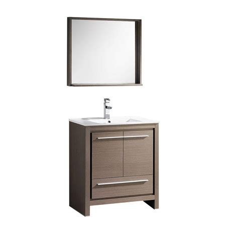 bathroom vanity with top and mirror fresca allier 30 in vanity in gray oak with ceramic