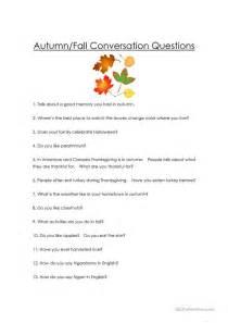 autumn fall conversation questions worksheet free esl