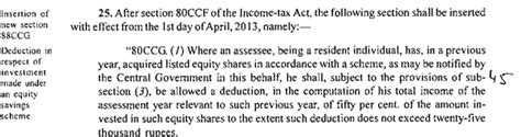Deduction Section 80ccg by Section 80ccg Deduction For Investment Made Equity