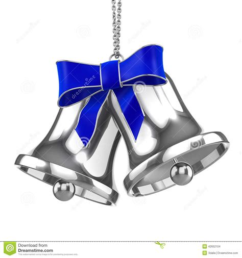 Wedding Bell Blues Year 3d silver bells with blue ribbon stock