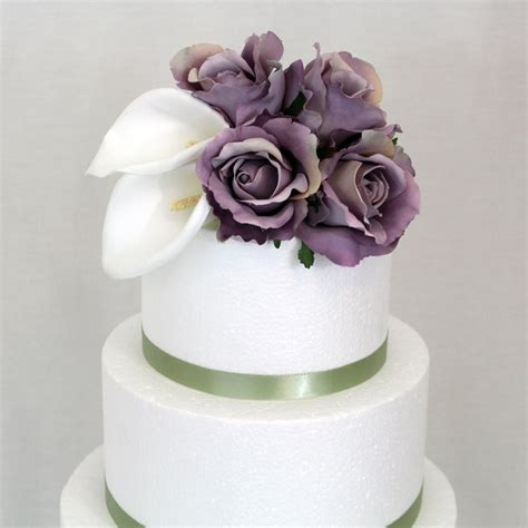 Wedding Cake Silk Flower by Wedding Cake Topper Calla Ivory Lavender