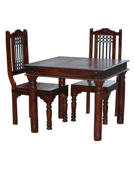 takhat square dining table with 2 chairs set homescapes