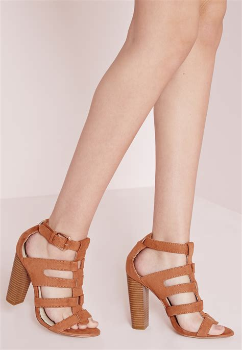 suede heeled sandals missguided gladiator heeled sandals faux suede in
