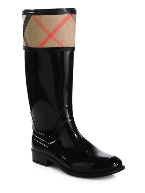 burberry boots burberry crosshill check boots in black lyst