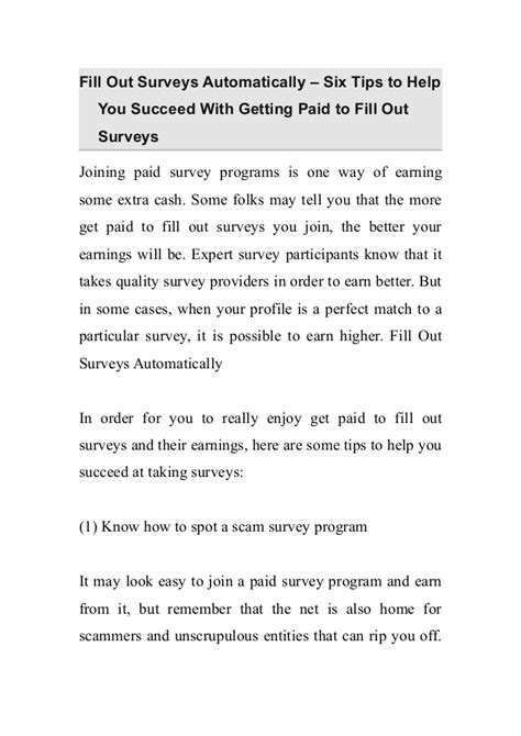 Paid To Fill Out Surveys - fill out surveys automatically