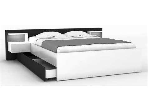 lit blanc 160x200 lit 160x200 cm 2 chevets tiroir lano coloris blanc et