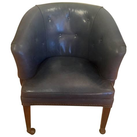 great blue leather tub chair at 1stdibs