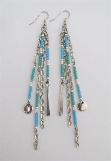 chain dangle seed bead earrings