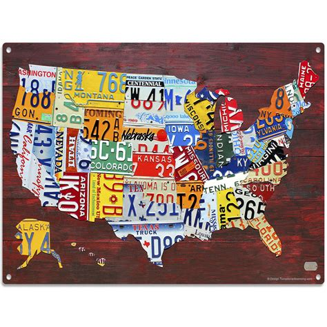 usa map license plates usa map detailed license plate style metal sign automotive