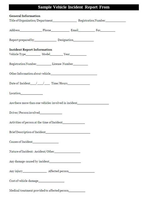 After Incident Report Template A Vehicle Incident Report Template Is Usually Filled By A